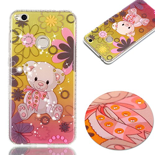 Cover Huawei P8 Lite 2017, Custodia Huawei P8 Lite 2017, Cozy Hut Premium Beautiful IMD Craft Gradient Color Design per Huawei P8 Lite 2017 Cover Custodia Silicone Transparente Pulire Stampa TPU Back  orso