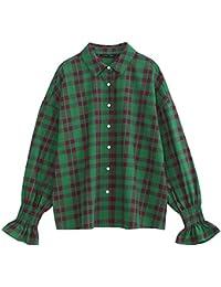 La Moda De Las Mujeres A Cuadros Escoceses Camiseta Elegante De Manga Larga Blusa De Cuello