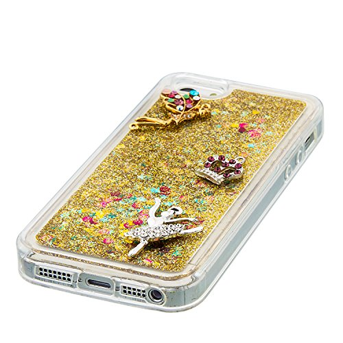 Flüssiges Case Ultra Thin Dünn TPU Silikon Schutzhülle für iPhone 5/5S/SE 3D Kreative Liquid Handyhülle Durchsichtig Rückseite Tasche Glitter Shiny Kristall Klar Handytasche Sparkle Dynamisch Treibsan A05