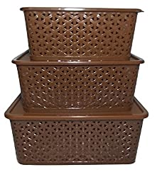 FAIRFOOD Polyproplene Multipurpose Basket with Cover- SET OF 3 pcs, 5 kg, Brown