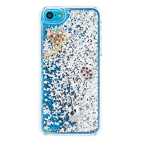 Coque iPhone 5C, iPhone 5C Cover Liquide, SainCat Ultra Slim Plastique Transparent Glitter Liquide Case pour iPhone 5C, Anti-Scratch Hard Housse Transparent Rigide Case, Support Protection Anti Choc S argent#4