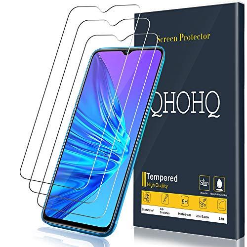 QHOHQ Verre Trempé pour Realme 5,Realme 5S, [3 Pièces] 9H Dureté Anti Rayures Ultra Clair 3D Touch Protection écran
