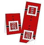 25 Weihnachtsaufkleber rot schwarz weiß HO HO HO Santa FROHE WEIHNACHTEN Aufkleber 5 x 14,8 cm selbstklebende Sticker Banderolen Geschenkaufkleber Verpackung Papiertüten zukleben