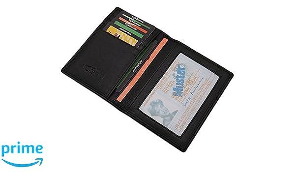 Pochette de carte didentit/é et porte carte de cr/édit MJ-Design-Germany en noir Cuir de buffle Portefeuilles passeport