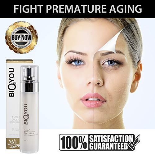 Anti-Aging Day Cream Anti-Falten Tagescreme mit Hyaluronsäure Collagen Panthenol Provitamin B5 Avocadoöl Sanddornöl Hagebutte Zimt Bio Creme für Gesicht mit organischen Inhaltsstoffen Natur Kosmetik