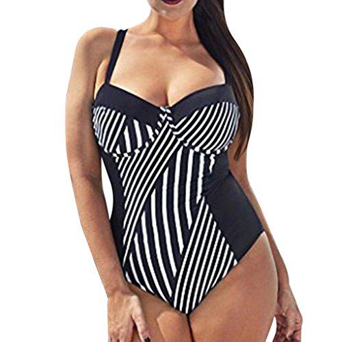 feiXIANG plus size Damen stück schwimmen kleid - bikini Frau einteiliger Badeanzug des fetten Mädchenstreifens badehosen (3XL, Schwarz) (Bandeau-schwimmen-kleid)
