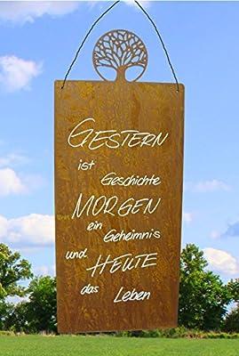 """Metallmichl Edelrost - Rostige Spruchtafel mit Lebensbaum """"Gestern ist Geschichte, das Morgen ein Geheimnis und Heute das Leben"""" von Metallmichl bei Du und dein Garten"""