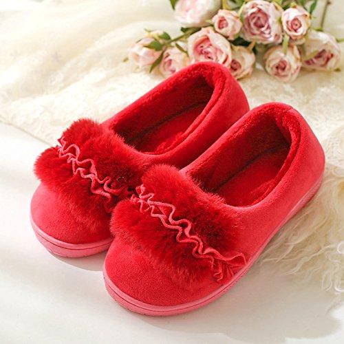 DogHaccd pantofole,Autunno Inverno peluche di fagioli di soia calzatura boutique home soggiorno con delizioso Pacchetto spessa con caldo cotone scarpe donna pantofole di cotone Vino rosso4