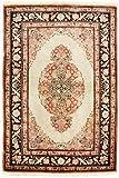 Morgenland Teppiche Antik Seidenteppich 120 x 70 cm Orientteppich Antik Beige