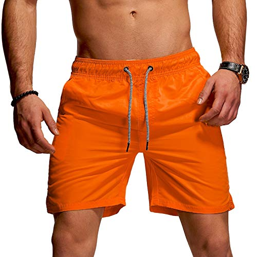 behype. Herren Bade-Shorts Kurze Hose Swim-Shorts Bade-Hose Strand Beach-Wear 80-1201 Orange M