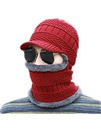 Sombrero de pasamontañas de Invierno cálido Bufanda de Punto Sombrero de esquí  Gorras con Visera d94d2e961c0