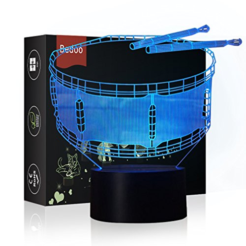 HeXie Magic Drum Lamp 3D Illusion 7 Colours Touch Switch USB Insert LED Light Birthday Present and Party Decoration