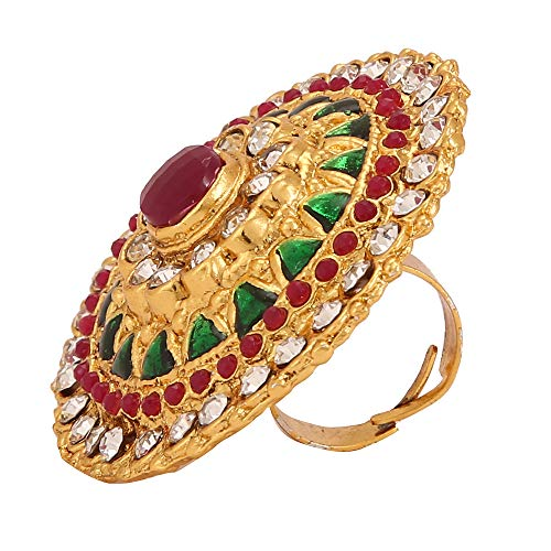 Yellow Chimes Stylish Cocktail Wedding Traditional Gold Plated Ring for Women (Green)(YCTJRG-03STN-PK)