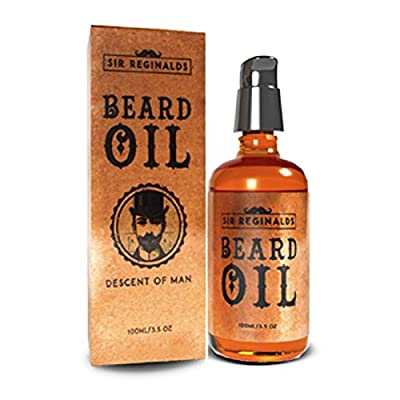 Sir Reginalds Beard Oil - Beard Conditioning Oil- Descent of Man Collection- A Beard Softener and Deep Conditioner For Men HUGE 100ml- 3.5oz- With Lock Pump Dispenser- Stylish Glass Bottle- Made in UK