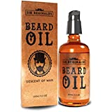Sir Reginalds Beard Oil - Beard Conditioning Oil- Descent of Man Collection- A Beard Softener and Deep Conditioner For Men HUGE 100ml- 3.5oz- With Lock Pump Dispenser- Stylish Glass Bottle- Made in UK by Sir Reginalds
