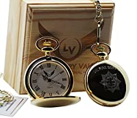Firefighter Gold Pocket Watch Fireman Fire Brigade Fob Watch Luxury Gift Case Gifts for Firefighters