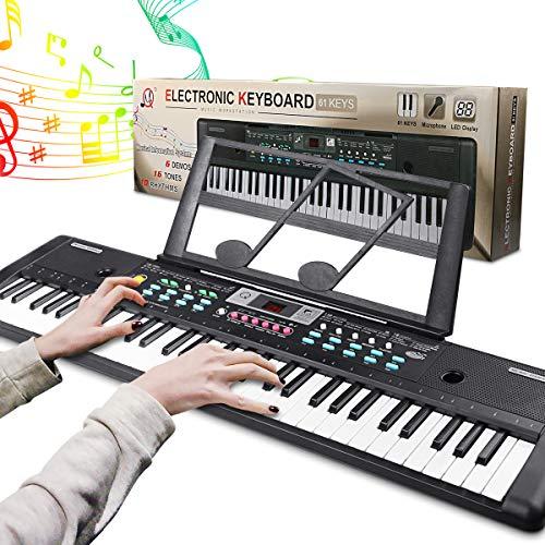 RenFox Clavier Portable 61 Touches, Microphone, Clavier de Piano Rique de Musique d'alimentation pour Enfants/Adul
