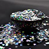 CAN_Deal Silver Heart Confetti Table Confetti Metallic Foil Hearts Sequin for Party Wedding Decorations, 15 Grams/ 0.5 ounce