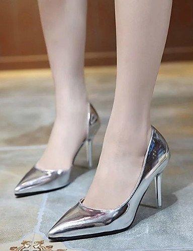 WSS 2016 Chaussures Femme-Décontracté-Noir / Rose / Argent-Talon Aiguille-Talons-Chaussures à Talons-Polyuréthane silver-us5 / eu35 / uk3 / cn34