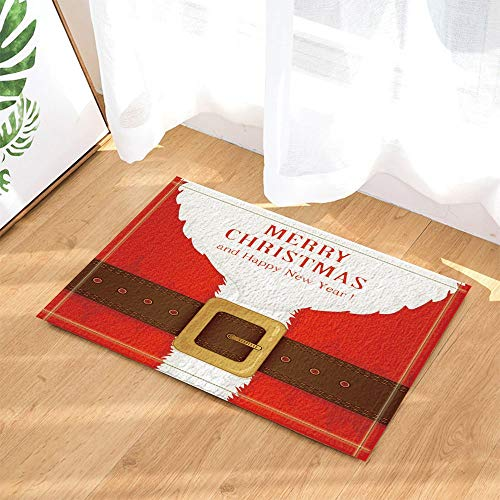 yinyinchao Frohe Weihnachten Dekor, Santa Claus Red Outfit Kostüm Gürtel Jahr Badteppiche, Rutschfeste Fußmatte Boden Eingangsbereiche Innenvorder Türmatte, Kinder Badematte, 40x60cm, - Santa Claus Kostüm Für Verkauf