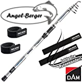 DAM Steelpower Pirate Tele Surf 100-250g 3.90m Brandung Brandungsrute mit Angel Berger Rutenband
