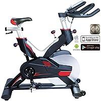 Preisvergleich für AsVIVA Indoor Cycle Speedbike S15 Bluetooth | Fitnessbike inkl. SPD Klickpedale, 27kg Schwungmasse, Pulsempfänger inkl. Brustgurt | mit flüsterleisem Riemenantrieb | Filzbremse