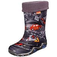 Demar Kids Boys Girls Wellies Rain Boots Warm Fleece-Lined Light Unisex Children Wellington Boots 13 UK Child/1 UK (Label 32/33) Cars