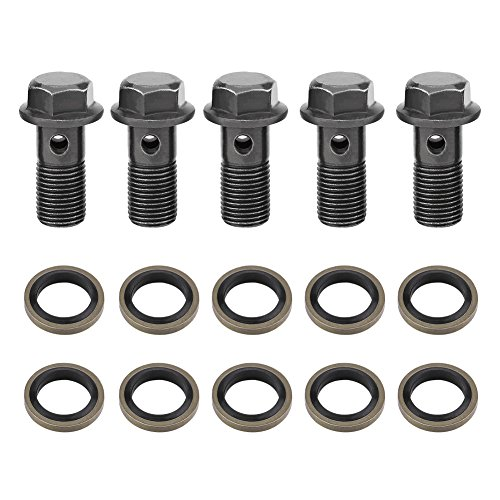 5PCS Motorrad Bremse Banjo Schrauben M10x 1,0mm, Banjo Schrauben und Beschläge, Edelstahl Banjo Bolt Dichtung Dichtungsring Bremssattel Kit für Master Zylinder (Bremssattel-dichtung)