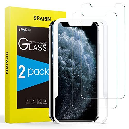SPARIN [Lot de 2] Compatible avec Verre Trempé iPhone XS/iPhone X, Protection Ecran Film Protecteur [Outil D'alignement Facile] [Sans Bulles] [Haut Définition] [2.5D/9H Dureté]
