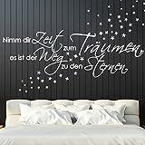 Grandora Wandtattoo Spruch Nimm dir Zeit zum Träumen + Sterne I schwarz (BxH) 135 x 41 cm I Schlafzimmer Sticker Aufkleber Wandaufkleber Wandsticker W5119