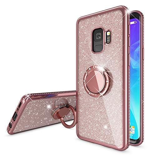 NALIA Ring Hülle kompatibel mit Samsung Galaxy S9, Glitzer Handyhülle Ultra-Slim Silikon Case Back-Cover mit 360-Grad Fingerhalterung, Schutzhülle Glitter Handy-Tasche Bumper Etui, Farbe:Rose Gold