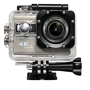 ICONNTECHS IT Sport Action Camera 4K Ultra HD Impermeabile, Lente Grandangolo 170°, Videocamera Full HD 1080P WiFi HDMI, Accessori gratis per Caschi, Immersioni Sub, Bicicletta e Sport Estremi [Grigio]
