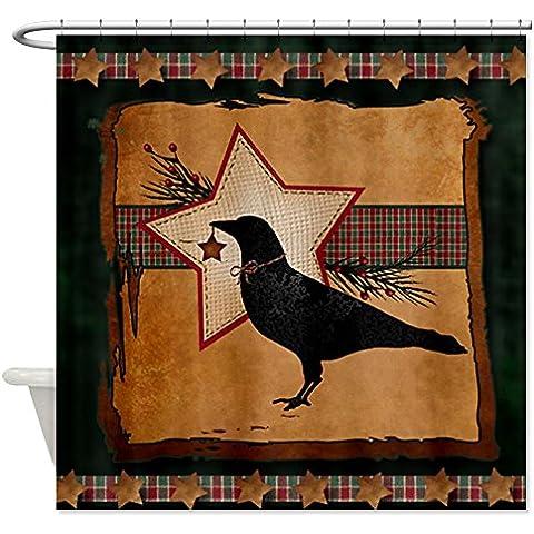 CafePress Primitive Folk Art corvo e stella di Natale, Tenda per doccia, motivo a S