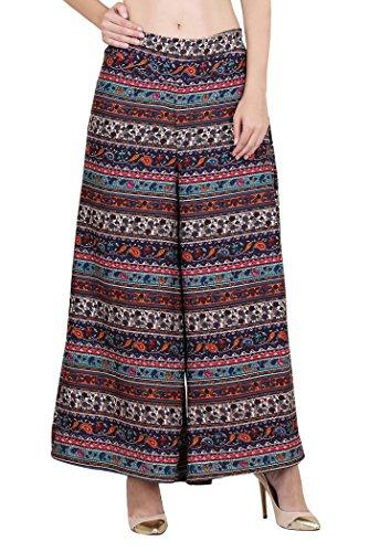 Myshka Women's Printed Regular Fit Multicolor Palazzo (PPZ0011_38)