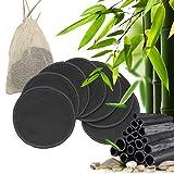 7 Bambus Abschminkpads mit Aktivkohle | inkl. Wäschebeutel | waschbare Wattepads| Umweltfreundliche Alternative