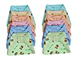 #3: PEUBUD ® New Born Baby Super Soft Reusable Cotton Hosiery Nappies - Langot - Cloth Diaper (0-3 Months) (Set of 12)