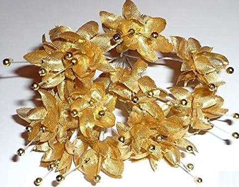 Gold Pearled Babys Breath Fabric Flowers Bunch of 12
