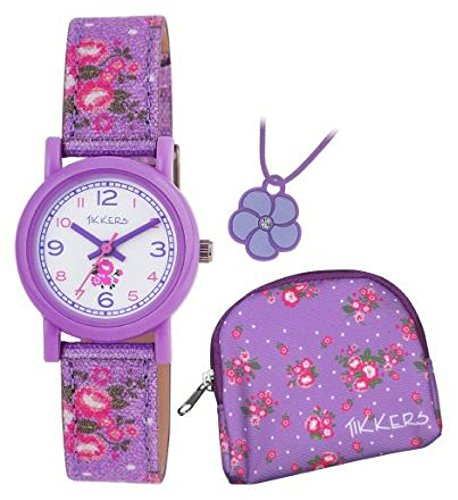 Tikkers Girls Purple Glitter Daisy Watch Gift Set (IJ738ID)