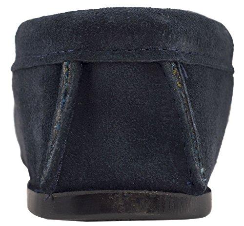 Homme/Homme Véritable Pantoufles Mocassin en Daim avec doublure coton et semelle résistante Bleu