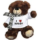 Oso marrón de peluche con Amo Rugby en la camiseta (nombre de pila/apellido/apodo)