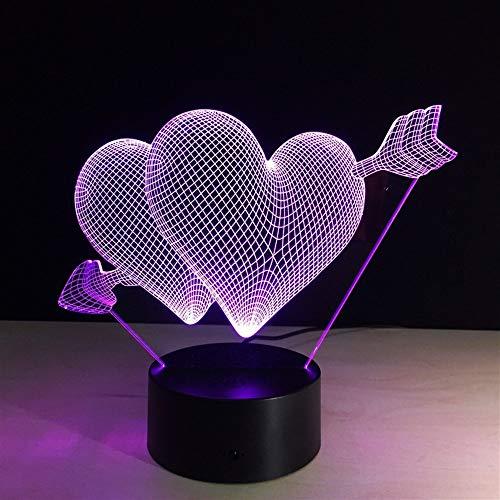 BEITAI 3D Nachtlichtlampe, LIEBE Herz Weihnachten, 3mm Alec Glas siebenfarbig, 8,27 × 5,91 × 2,36 Zoll, Valentinstag Geschenk für Liebhaber