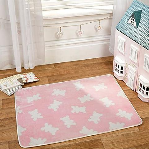 Flair Rugs Nursery Impresión Bears–Alfombra infantil (, Rosa, 70x 100cm
