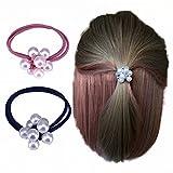 Desconocido funda de la cuerda del pelo Tousheng Tousheng Corea del encantador frescas perlas anudadas muchachas adultas pelo de goma elástica círculo para dama mujer niña