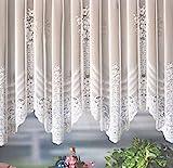 heimtexland Gardine Store Bogenstore Jacquard Blumenmuster weiß mit Kräuselband/Universalschienenband HxB 175x500 cm für Fensterbreite 190-240 cm TOP QUALITÄT …auspacken, aufhängen, fertig! Typ127