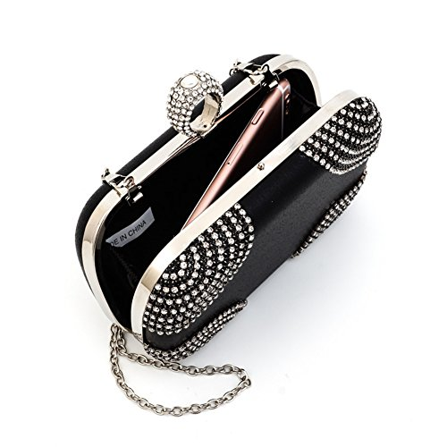 Bling Strass Abend Party Dinner Taschen Clutch Prom Crossbody Chain Wristlet Schwarz