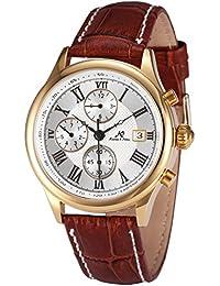 KS KS146 - Reloj para hombres, correa de cuero color marrón