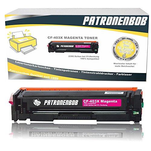Patronenbob® XL Magenta Toner kompatibel zu HP CF403X 201X Tonerkartusche für HP LaserJet Pro MFP M277dw, Pro 200 M252dw, M277n, M252n, M277n, M274n - Magenta XXL 2.300 Seiten
