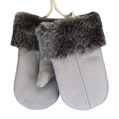 SamWo Gants pour enfant en peau d'agneau véritable - Produit naturel chaud et câlin, pour enfants de 2 à 4 ans - Beige