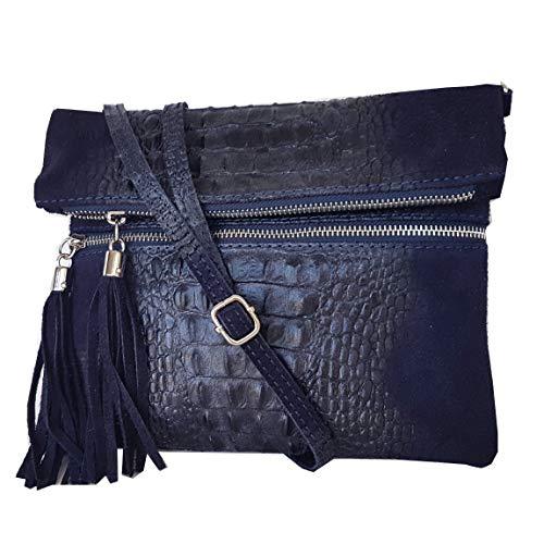 zarolo Damen Leder Clutch, Umhaengetasche, Schultertasche, Cross Body Minibag echtes Leder, Glattleder & Kroko-Optik, Handtasche Italienische Handarbeit M2080 -