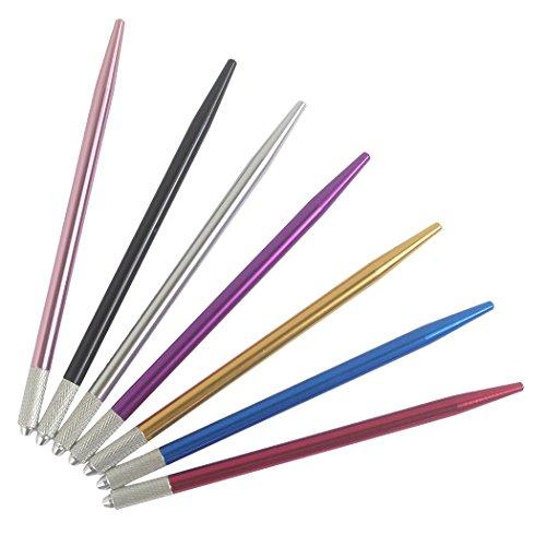 Xiaoyu 7PCS colori professionale manuale nebbia tatuaggio microblading penna punta ago Supporto fornitore utensile per trucco permanente strumento cosmetico